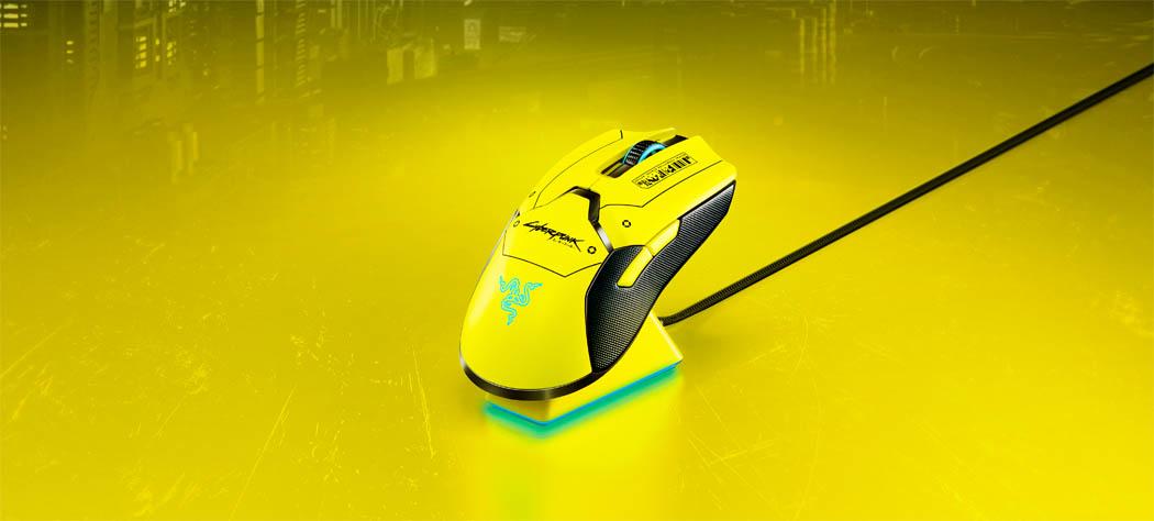 ratón cyberpunk 2077 Razer Viper Ultimate Cyberpunk 2077 Edition Techandising con base
